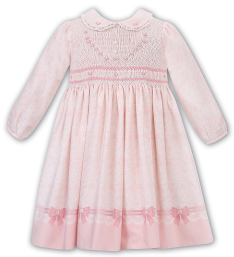 SARAH LOUISE 011677 PINK IVORY HAND SMOCKED DRESS IN STOCK