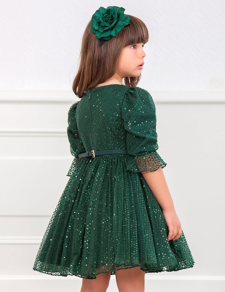 ABEL AND LULA 5568 GREEN SEQUIN TULLE DRESS - Cherubs