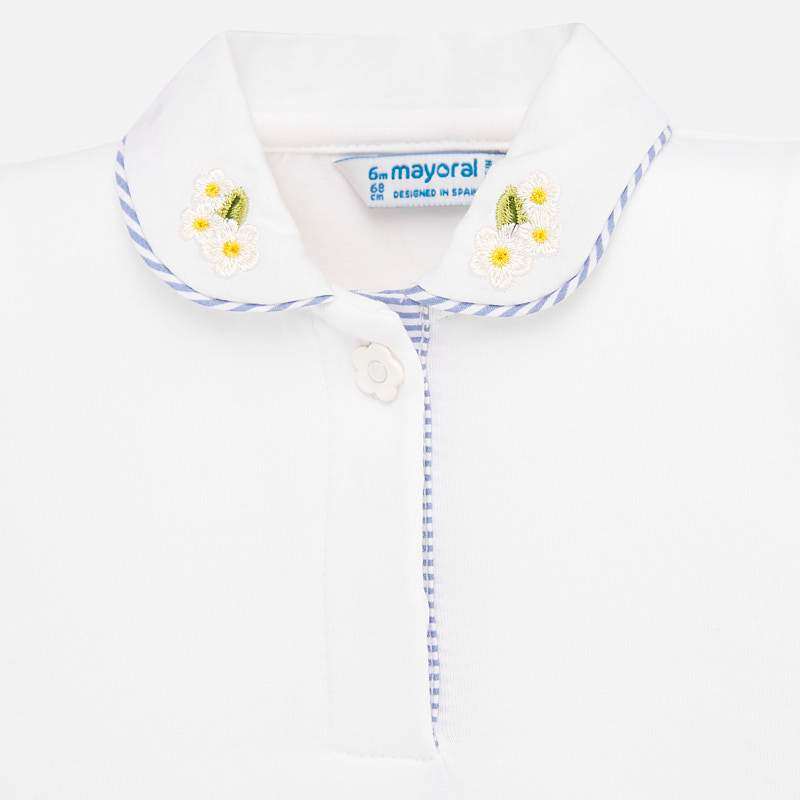 MAYORAL 1167 WHITE SHORT SLEEVE POLO SHIRT - Cherubs