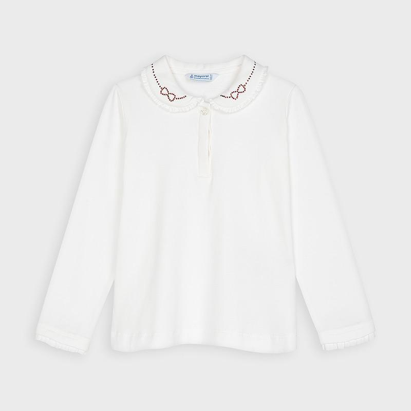 MAYORAL 131 CREAM RED LONG SLEEVE BLOUSE - Cherubs