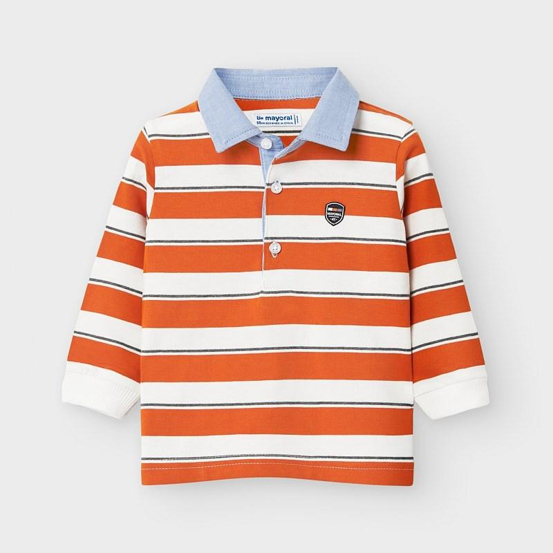 MAYORAL 2123 ORANGE LONG SLEEVE STRIPES POLO SHIRT - Cherubs