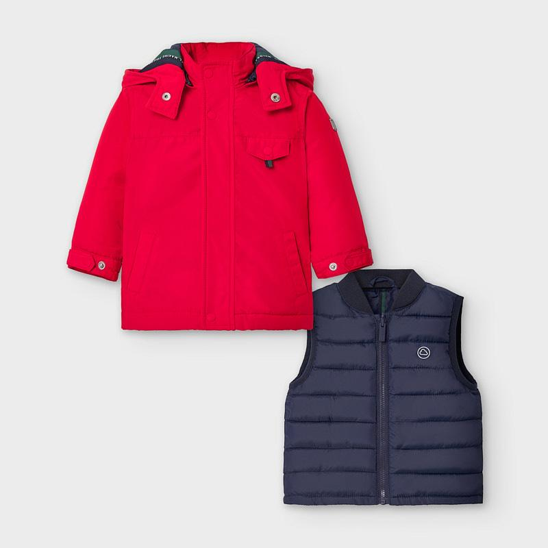 MAYORAL 2486 RED REVERSIBLE COAT - Cherubs