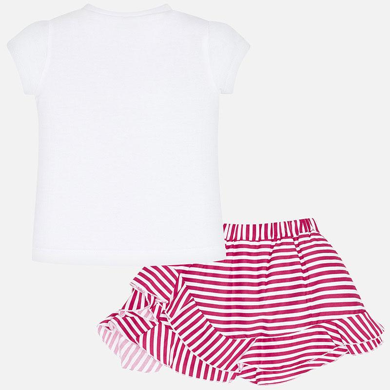 MAYORAL 3964 STRAWBERRY PINK STRIPE SKIRT SET - Cherubs