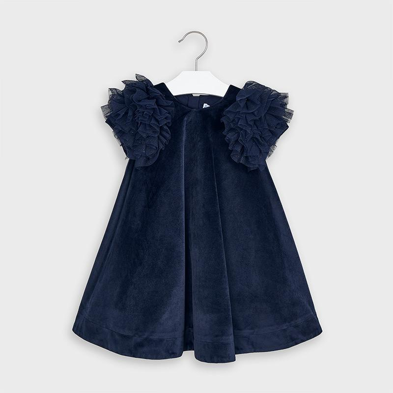 MAYORAL 4965 NAVY BLUE VELVET DRESS IN STOCK - Cherubs