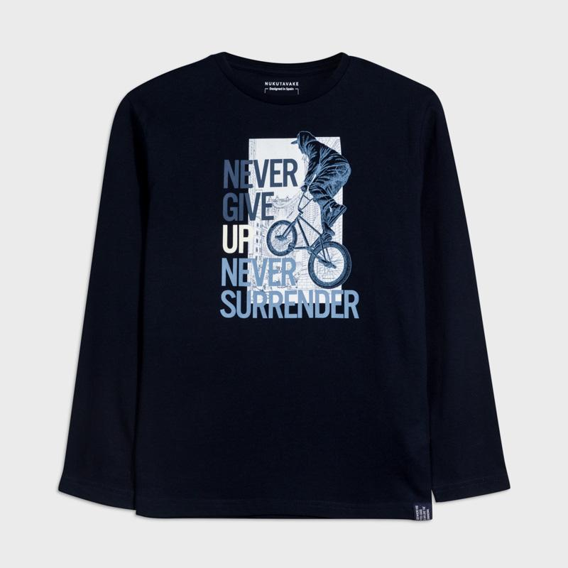 MAYORAL 7057 DEEP BLUE LONG SLEEVE TEE-SHIRT IN STOCK - Cherubs