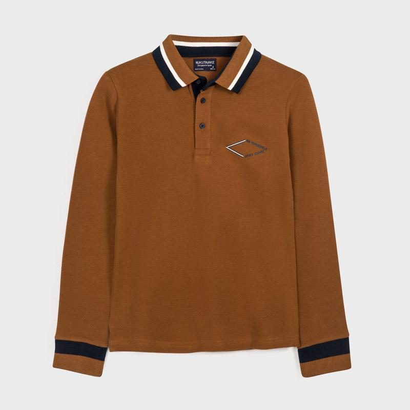 MAYORAL 7123 BROWN LONG SLEEVE POLO SHIRT - Cherubs