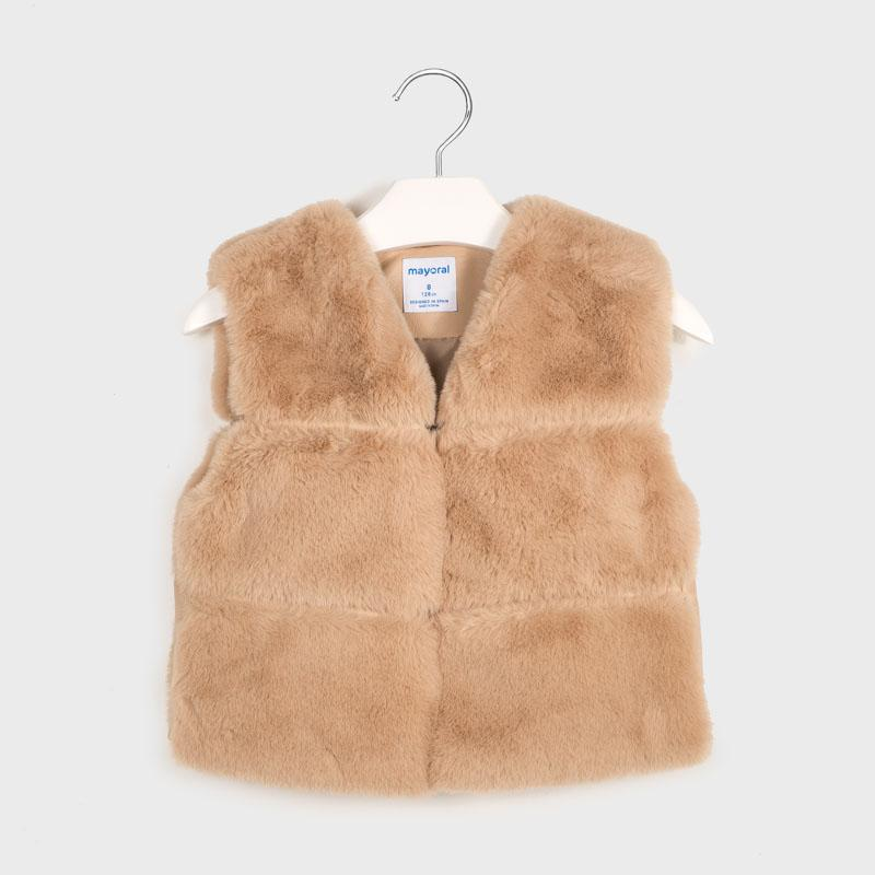 MAYORAL 7336 CREAM FAUX FUR VEST - Cherubs