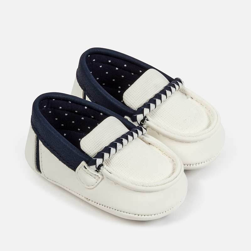 MAYORAL 9275 WHITE MOCCASIN BABY SHOES - Cherubs