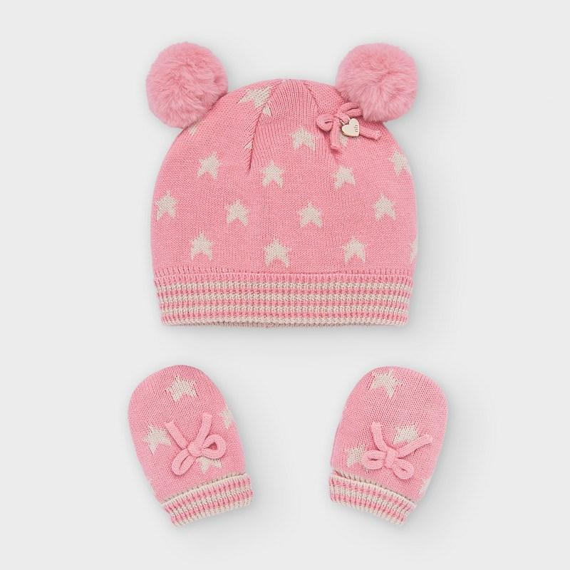 MAYORAL 9316 BLOSSOM PINK HAT AND MITTENS SET - Cherubs