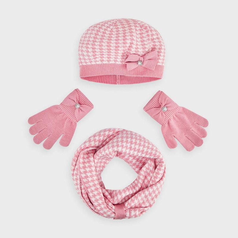 PRE-ORDER MAYORAL 10895 BLUSH HAT AND SCARF - Cherubs