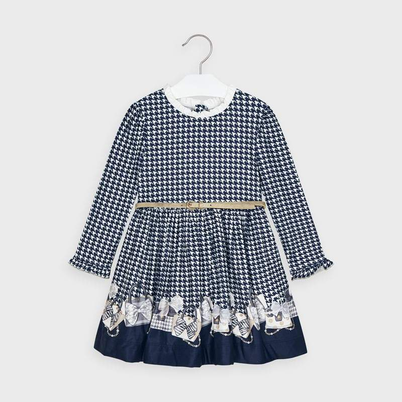 PRE-ORDER MAYORAL 4963 NAVY BLUE DRESS - Cherubs