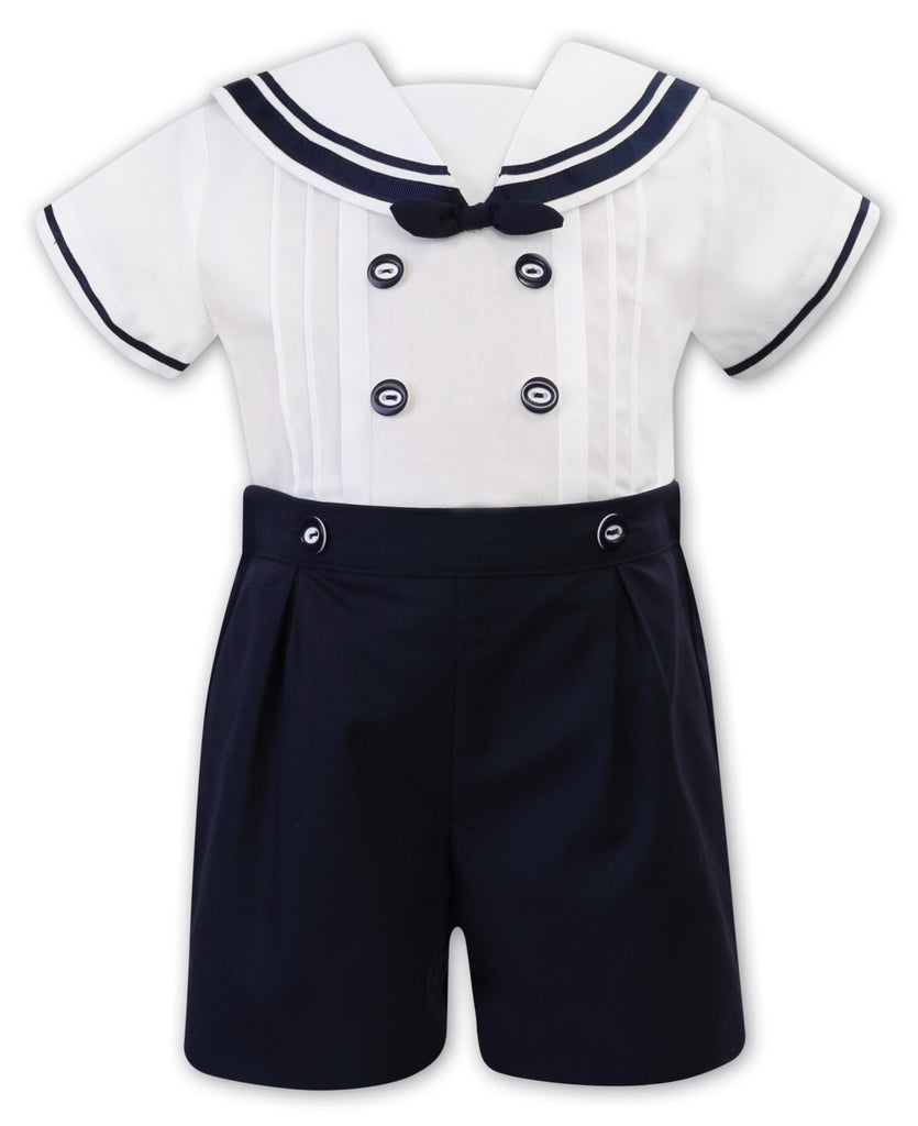 SARAH LOUISE 011875 WHITE NAVY BLUE TWO PIECE SET - Cherubs