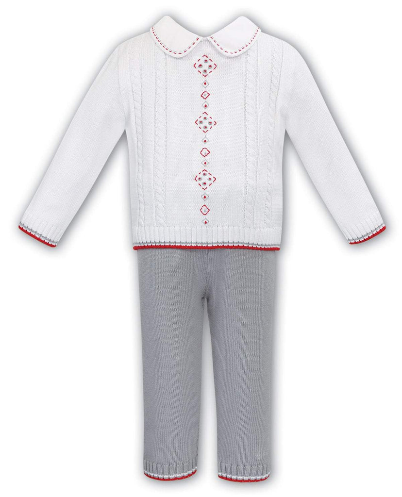 SARAH LOUISE 012180 GREY RED TOP AND TROUSERS SET - Cherubs