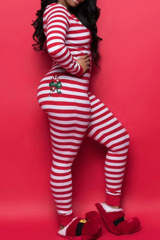 Christmas Day Striped Red One-piece Jumpsuit