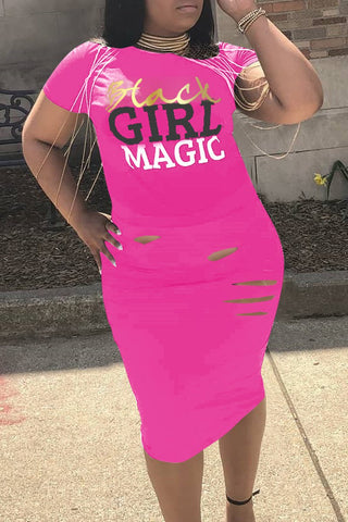 Plus Size Black Girl Magic Short Sleeve Casual Dress