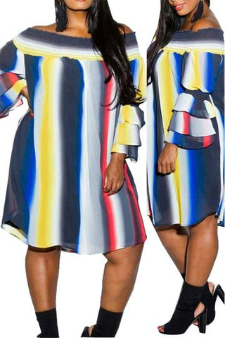 Off The Shoulder Colorful Stripe Dress