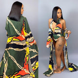Sexy Printed Beach Cloak+Bodysuit Swimwear Set