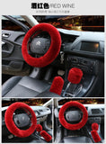 Car Steering Wheel Plush Protective Cover 3pc