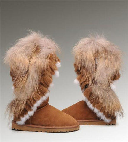 UGG Fox Fur Tall Boots Chestnut