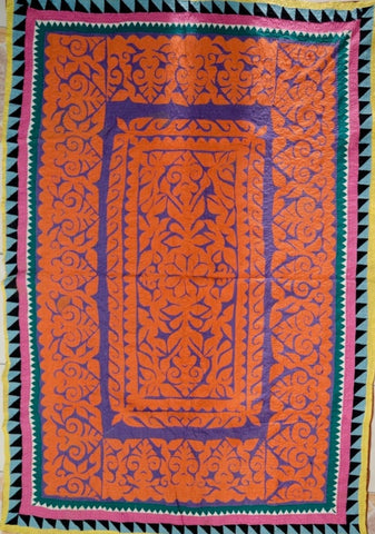 Hand-stitched reverse applique ralli (quilt/throw) made by Meghwar tribal women, Sindh, Pakistan