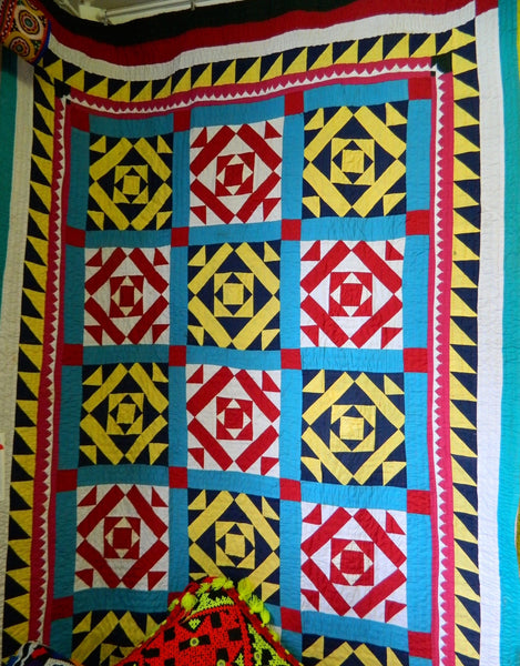 Fully Hand Stitched Patchwork Ralli Quilt Throw Made By