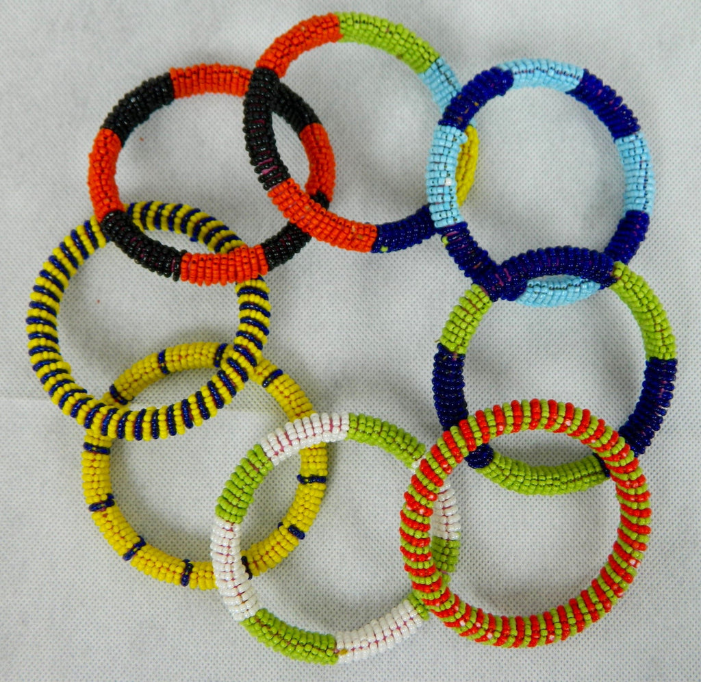 ONLY 4 LEFT: BRIGHT HANDMADE SEED BEAD BANGLES | MADE BY YASMEEN SOOMRO PAKISTAN