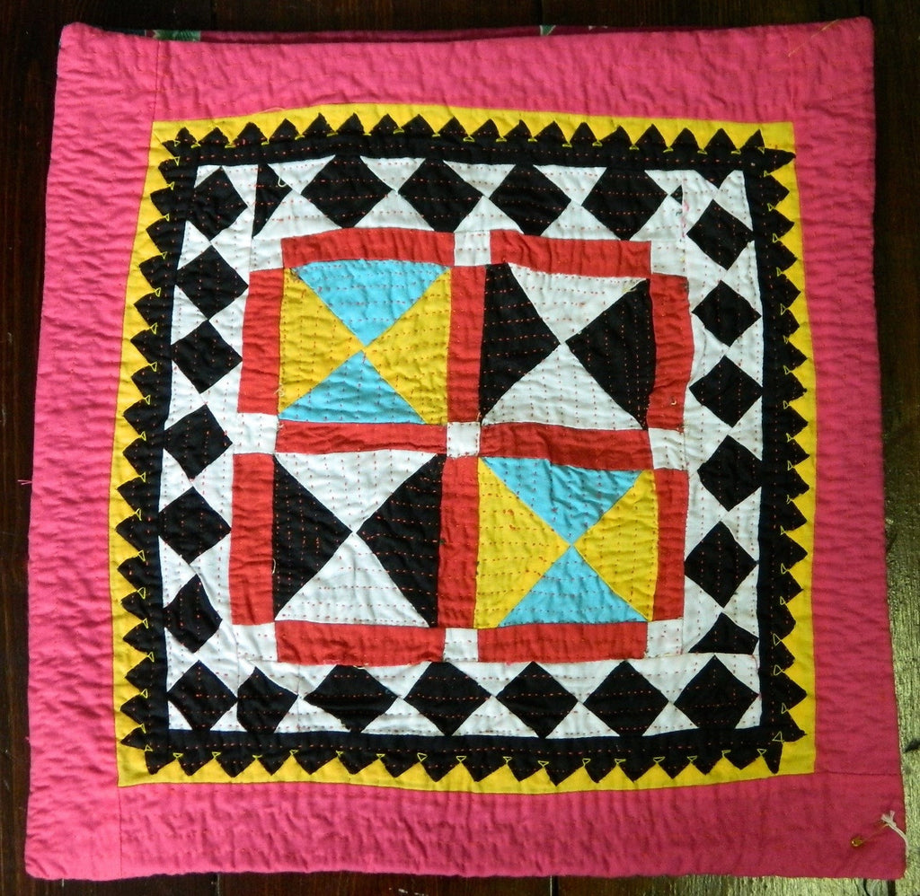 Hand-stitched patchwork and applique CUSHION made by Meghwar women, Sindh, Pakistan