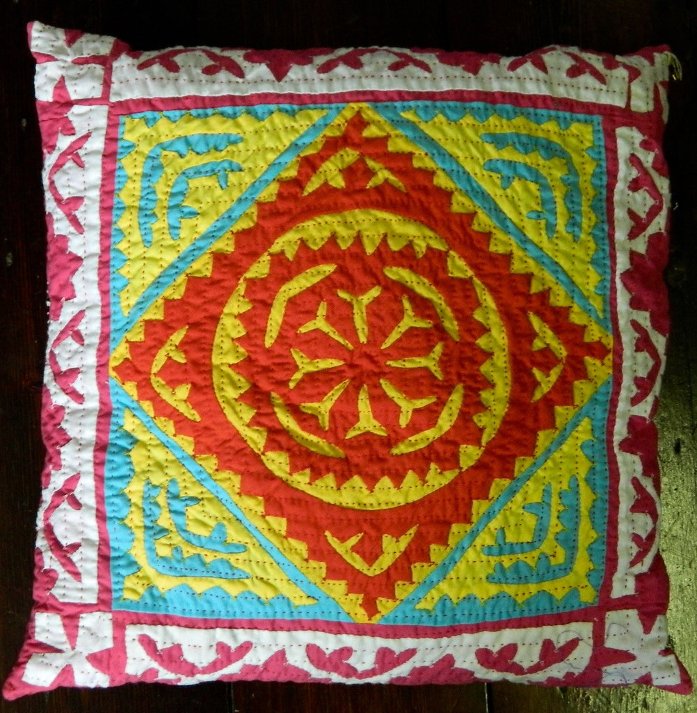 SOLD Hand-stitched patchwork and applique CUSHION made by Meghwar women, Sindh, Pakistan