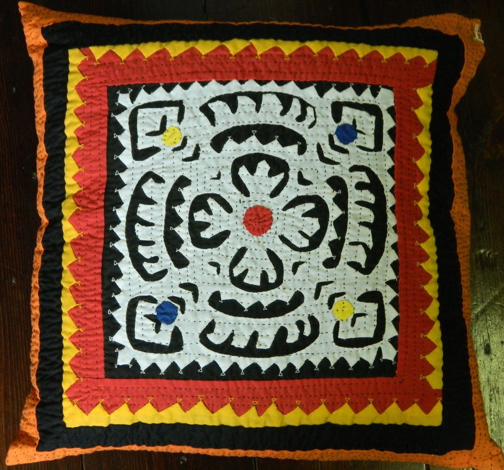 SALE: ONE LEFT Hand-stitched patchwork and applique CUSHION made by Meghwar women, Sindh, Pakistan