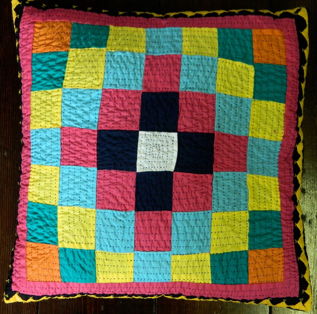 Hand-stitched patchwork and reverse applique CUSHION made by Meghwar women, Sindh, Pakistan