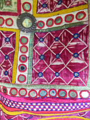 Rare vintage silk floss Hindu JADEJA tribal CHAKLA (wall hanging) from Saurashtra, Gujarat, India