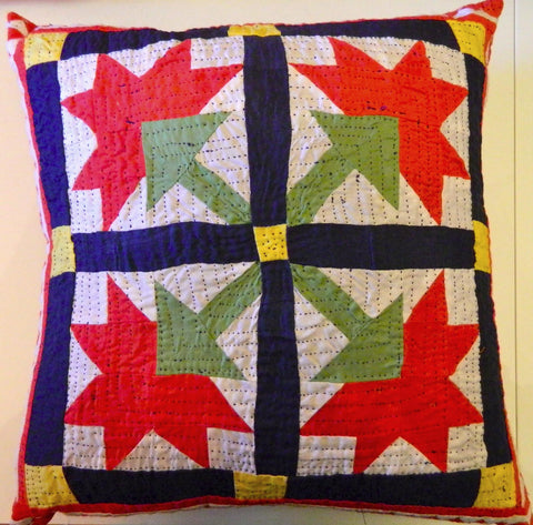 Hand stitched patchwork and reverse applique CUSHION made by Meghwar women, Sindh, Pakistan