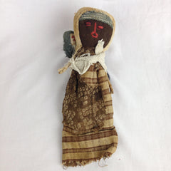 PERU: MOTHER & CHILD DOLL | Pre Colombian Chancy Civilisation Textiles (1100 - 1400 CE) Funerary Doll