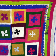 HAND-STITCHED PATCHWORK, REVERSE APPLIQUE QUILT/RALLI FROM THAR DESERT,  PAKISTAN 140 x 200cm.