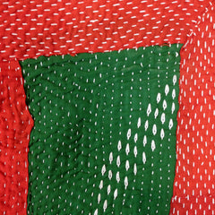 BOLD HAND-STITCHED RED & GREEN KANTHA QUILT | RAJASTHAN, INDIA