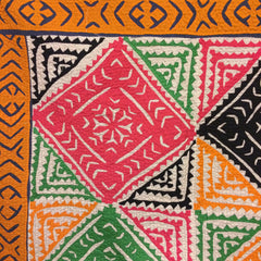 BRIGHT, HAND-STITCHED TRADITIONAL REVERSE APPLIQUE + PATCHWORK RALLI QUILT, THAR DESERT, SINDH, PAKISTAN