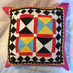 UNIQUE PATCHWORK AND APPLIQUE CUSHIONS MADE BY HINDU MEGHWAR, PAKISTAN.