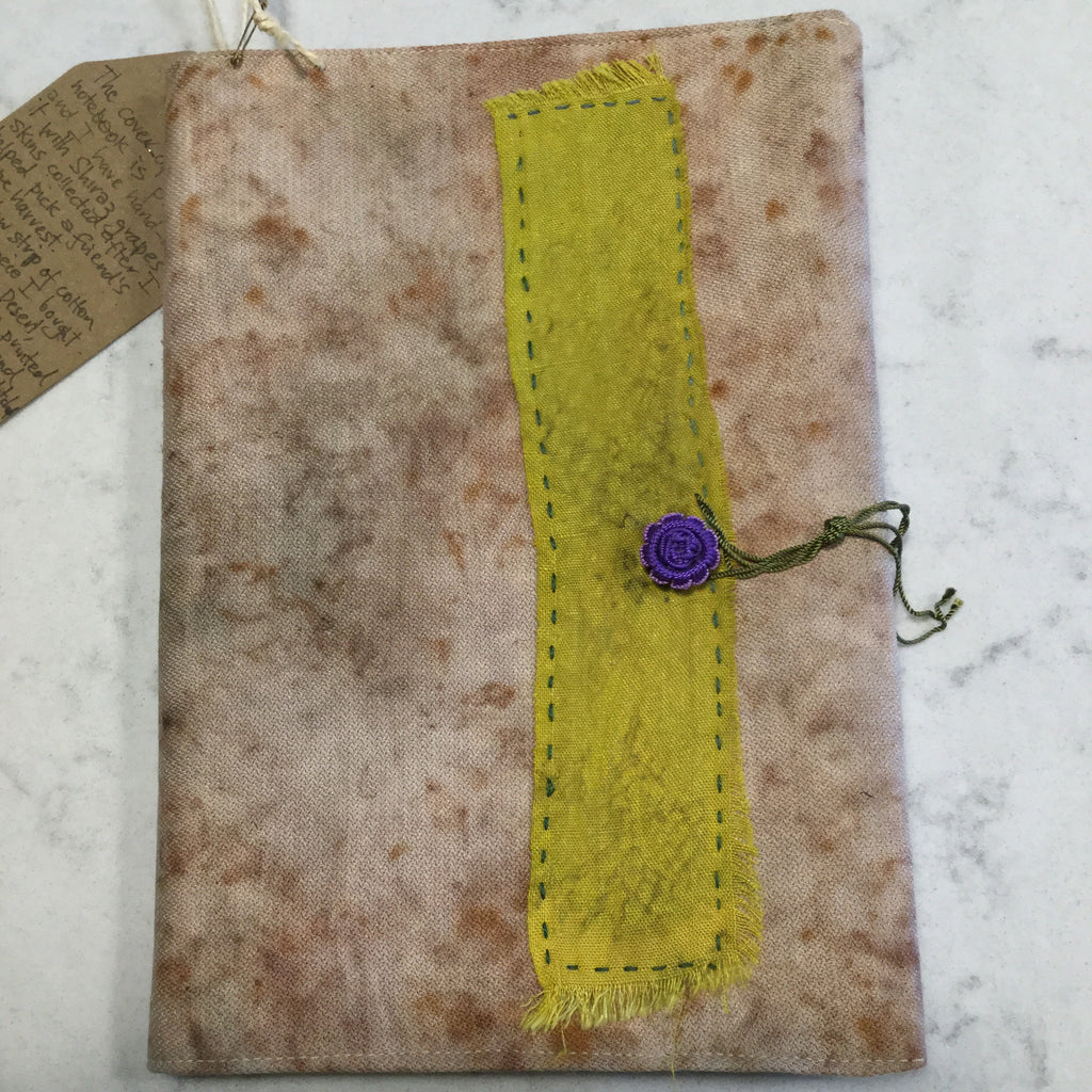 Journal with hand-dyed, hand-stitched cover using a myriad of ancient crafts