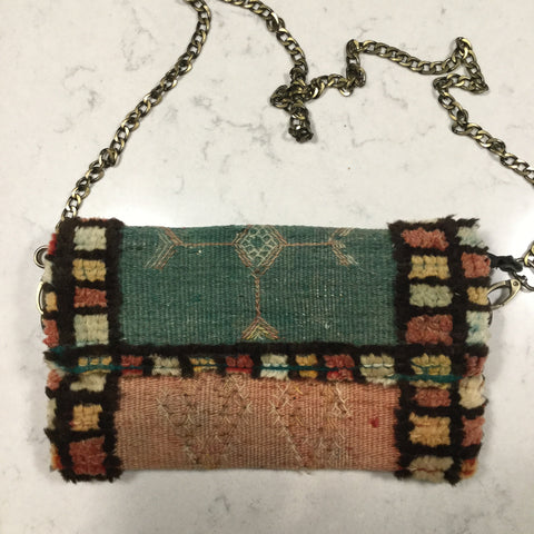 Antique and vintage Moroccan carpet bag, shoulder bag, clutch.