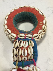 RABARI TRIBAL IDANI (head pad) hand-stitched and covered in traditional, symbolic, ceremonial cowrie shells. Rann of Kutch, Gujarat, India