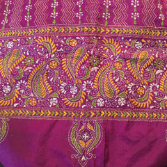 Traditional West Bengali hand-embroidered pure silk kantha shawl scarf throw