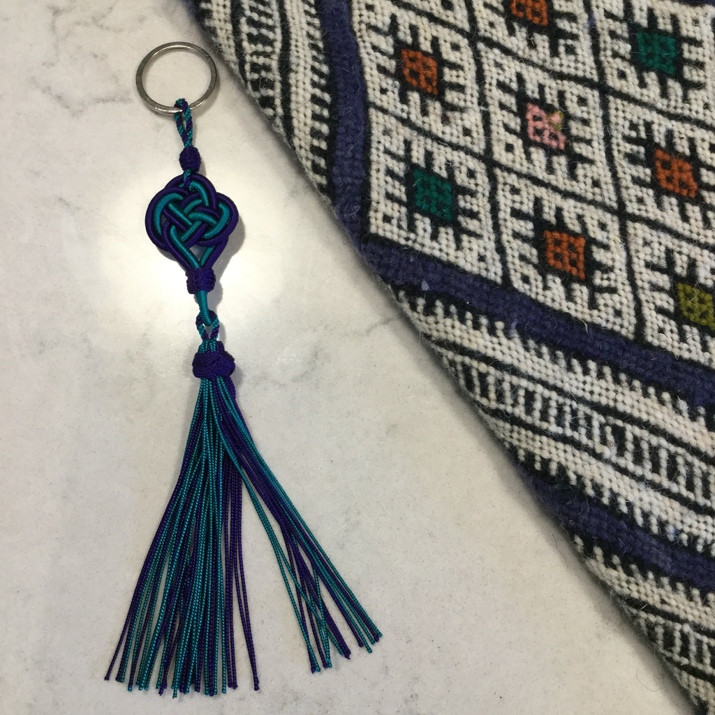 Moroccan hand-knotted tassel keyring from Marrakech