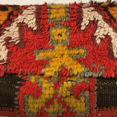 Antique and vintage Moroccan rug clutch handbag with long chain