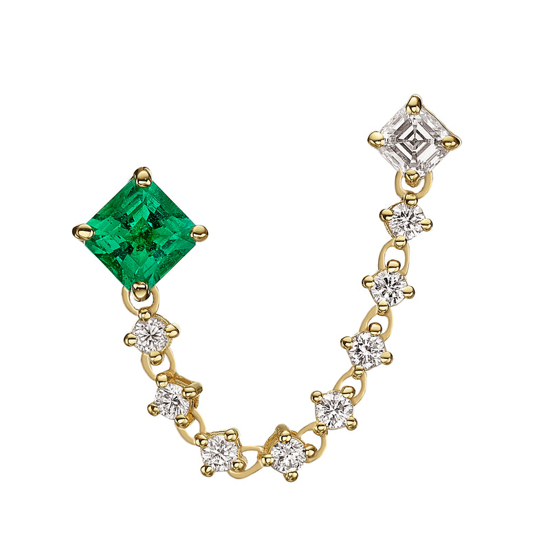 DUO SQUARE EMERALD EARRING