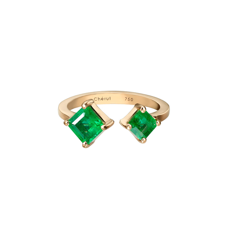 DUO SQUARE EMERALDS RING