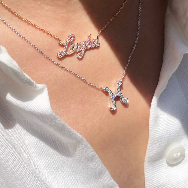 DIAMOND LARGE INITIAL NECKLACE