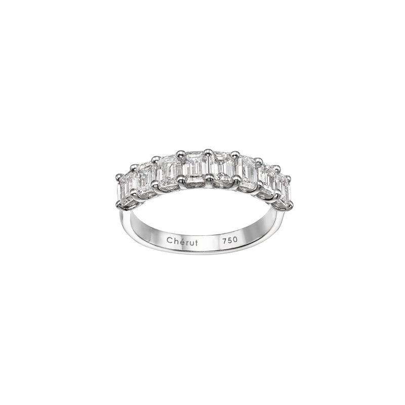 EMERALD DIAMONDS HALF ETERNITY BAND
