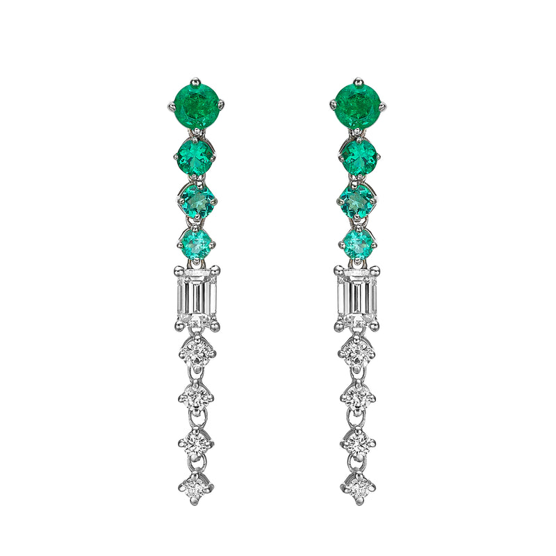 CHAINED EMERALD EARRINGS