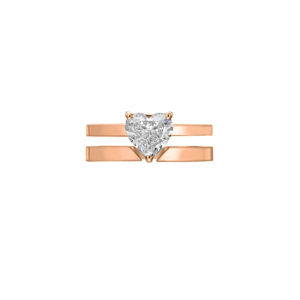 GOLD HEART DIAMOND RING