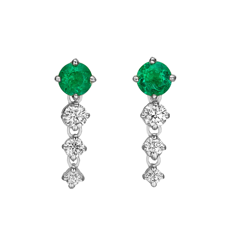 CHAINED ROUND EMERALD EARRINGS